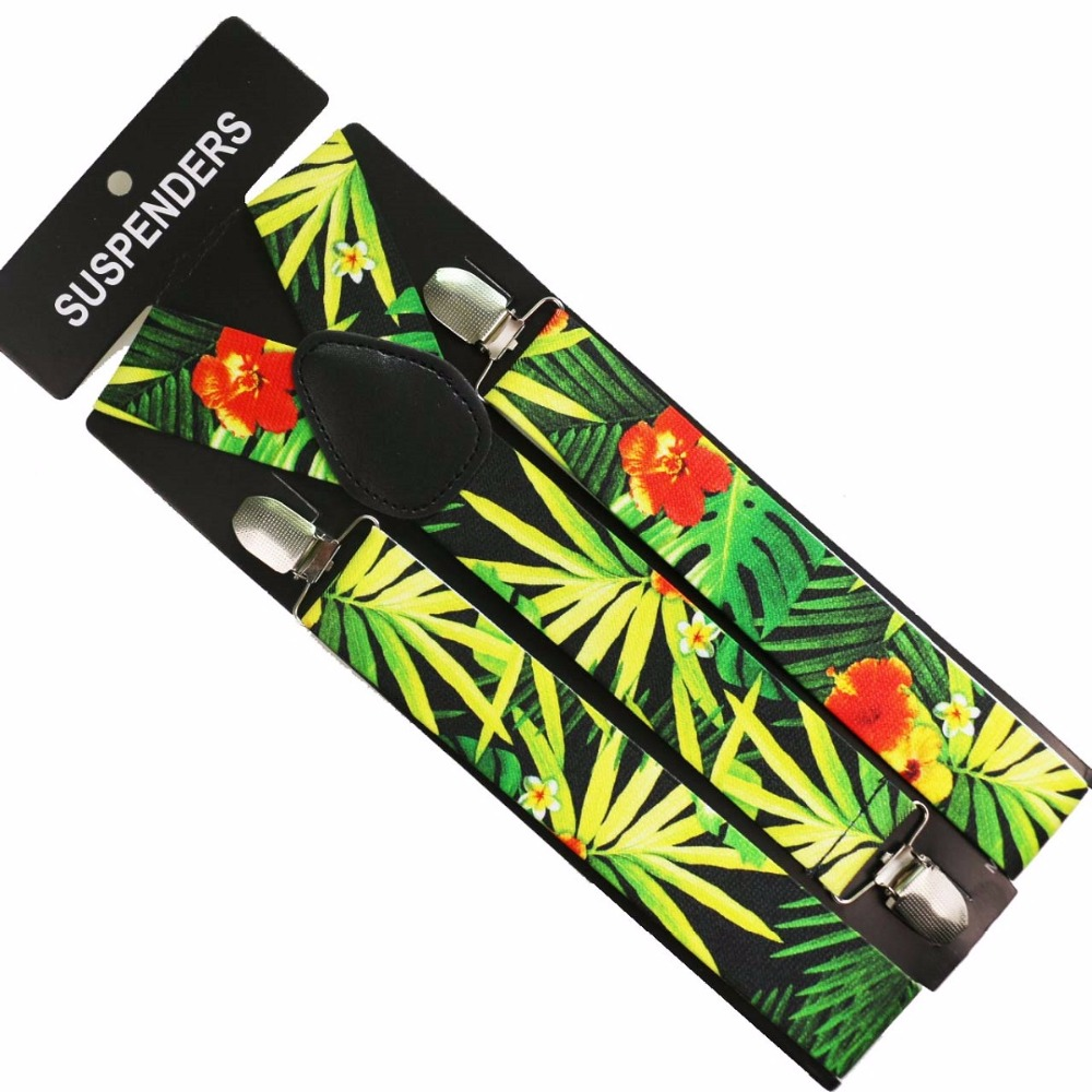 Winfox  Multicolor Tropical Flower Leaf Print Clip-on Y Back Elastic Suspenders Braces For Mens Women