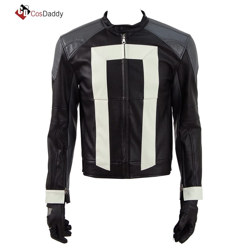 Marvel Agents of Shield Cosplay Costume Marvel S.H.I.E.L.D Ghost Rider Jacket Gloves Carnival Leather Clothes CosDaddy