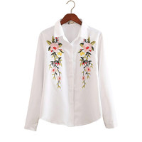 16 Kinds Autumn White And Striped Embroidered Female Shirts Long Sleeves Flower Pattern Square Collar Women