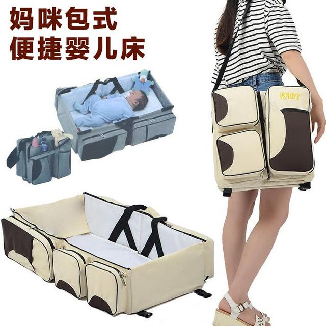 Fashion Baby Cribs Diaper Stuff Organizer Stroller Mother Waterproof Nappy Changing Bags Brand Baby Bed Portable Bags C1040