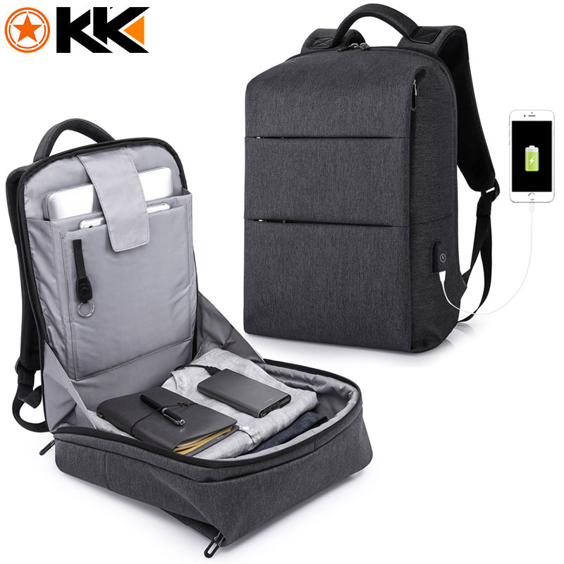 KAKA Casual Style Multifunction Black Men Backpack For 15.6 Laptop Male Mochila Fashion Water Resistant USB Charging Backpack