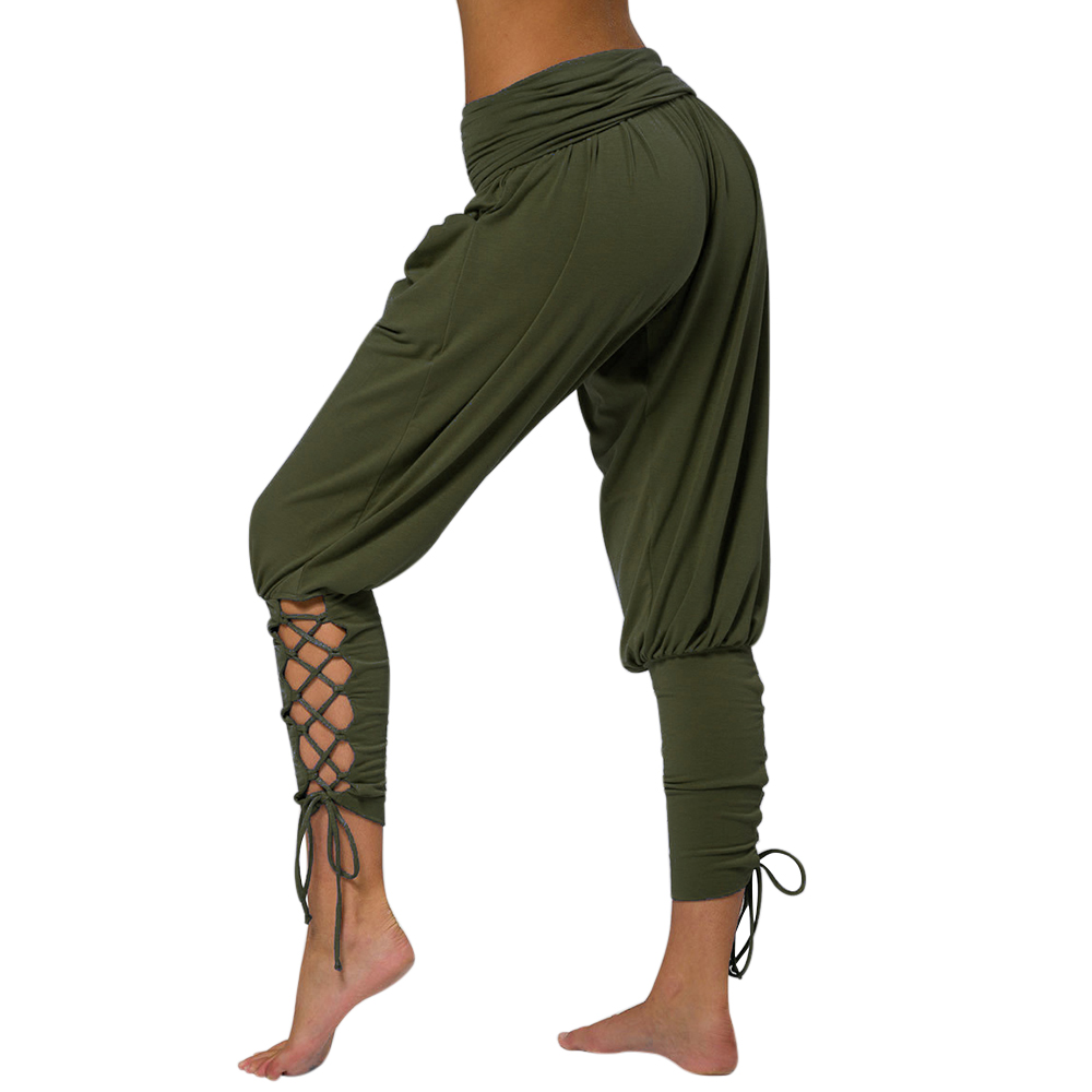 NIBESSER 2019 Pilates Pants Women Soft Solid Lace Up Jogger Harem Pant Gym Fitness Loose Bandage High Waist Pocketed Casual Pant