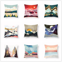 Colorful Geometric Mountain Peaks Sun Moon Creative Cushion Cover Abstract Painting Soft Sofa Bed Living Room Home Decor 45x45cm