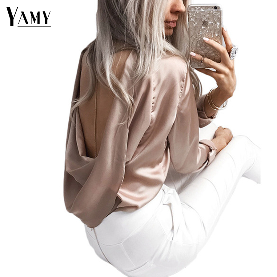 2017 Autumn Sexy Satin Ruffles Women Blouses Hollow Out Back O Neck Long Sleeve Party Evening Blusa Ladies Tops Shirts