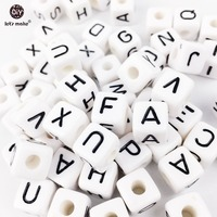 Let's Make Different Alphabet White 100PC Size Of 1 cm Beads Acrylic Letters Children Education DIY Plastic Beads