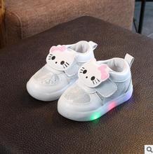 Sapatas dos miúdos Meninas Outono Inverno Crianças Sapatilhas Sapatos Menino Chaussure Enfant Olá Kitty Bebê Sapato Com Luz LED