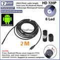 FindFine 2 M (PÉS) 6 LED HD 7mm Android Lente Endoscópio endoscópio USB Câmera de vídeo para PC Android telefone IP67 À Prova D' Água