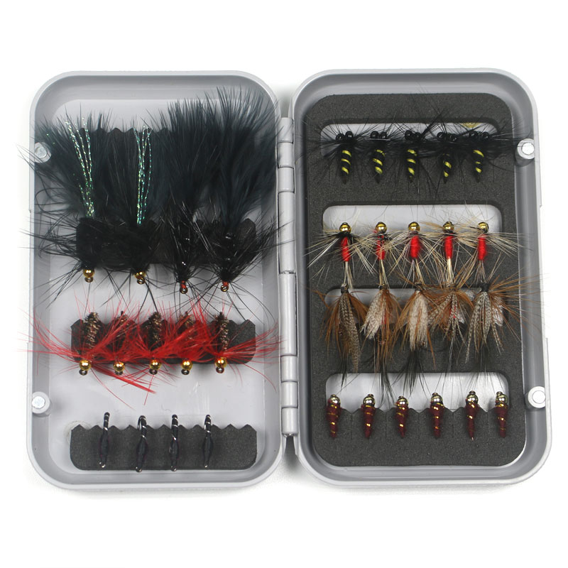 34/44PCS Fly Fishing Lure Fly Tying Material Wet/Dry Nymph Artificial Flies Bait Pesca Fly Trout Carp Fishing Pesca Tackle/Box