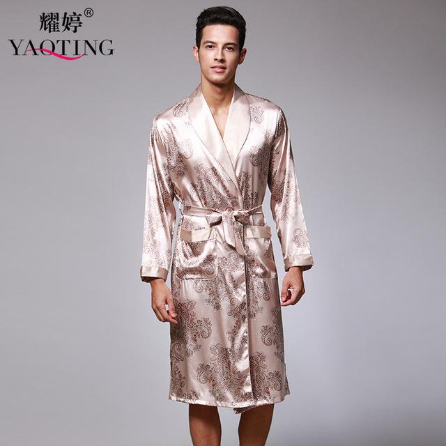 Nueva Marca Sexy Batas Conjuntos Hombres de Satén de Seda Robe Albornoz Set Más El Tamaño Camisón de Dormir Vestido de La Noche ropa de Dormir WP182