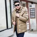 2016 Inverno grosso longo-de cabelos compridos dos homens gola de pele para baixo jaqueta tamanho grande dos homens casuais solta com capuz sólida jaqueta XL-10XL
