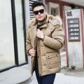 2016 Winter men's thick long-haired fur collar down jacket big size men's casual loose solid hooded down jacket XL-10XL