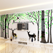 Forest tree deer crystal acrylic 3d self-adhesive wall sticker Living room sofa bedroom TV background wall decoration painting deer 3d wall sticker
