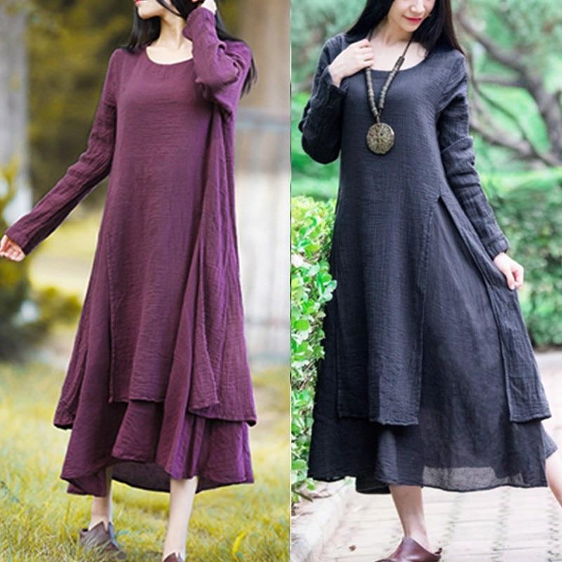 Plus Size Women Casual Solid Spring Dress Loose Long Sleeve Round Neck Autumn Dress Cotton Linen Boho Long Maxi Dress Vestidos