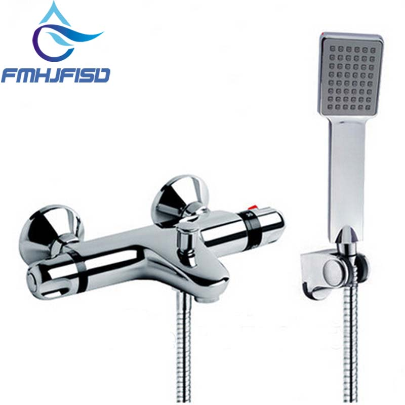 Wholesale And Retail Promotion Thermostatic Shower Faucet Chrome Finish with Plastic Hand Shower china sanitary ware chrome wall mount thermostatic water tap water saver thermostatic shower faucet