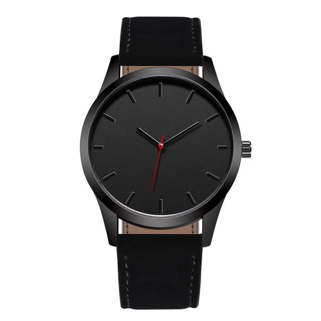 2018 Luxury Men's Sports Watch Leather Band Stainless Steel Analog Quartz Wristw