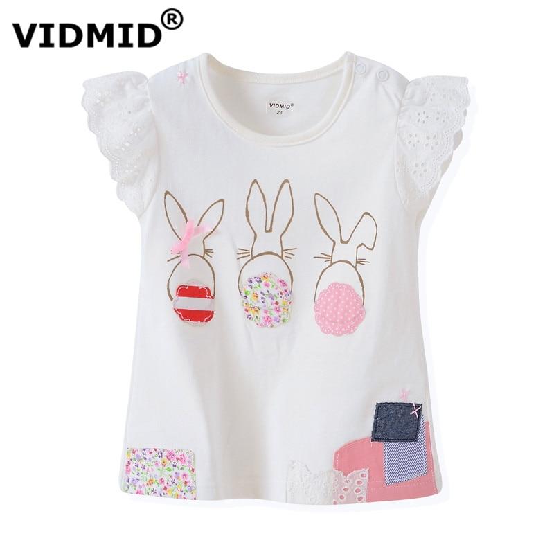Vidmid new quality 100 cotton baby girls t shirt short for 100 cotton dress shirt