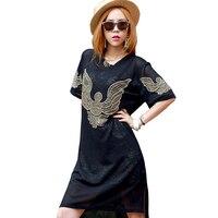 2018 Summer Dress Women Casual Loose Black Short Sleeved O Neck Transparent Mesh Dresses Plus Size