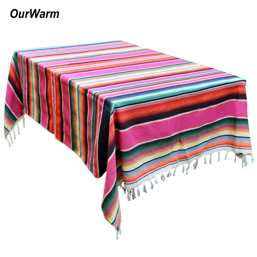 OurWarm 150X215cm Mexican Blanket Stripe Tablecloths for Weddings Cotton Travel Serape Blanket Outdoor Table Cover Table Cloth