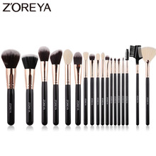 ZOREYA Soft Synthetic Hair Fibers Makeup Brush Tool Set Large Foundation Contour Blush Powder Eye Shadow Make Up Brushes Black fafula professional makeup tool double ended contour define eye shadow brush black
