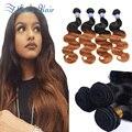 Grade 8A Ombre Brazilian Hair Body Wave Brown Ombre T1B/30  Brazilian Hair Weave Bundles 4 Pcs Virgin Brazilian Hair Body Wave