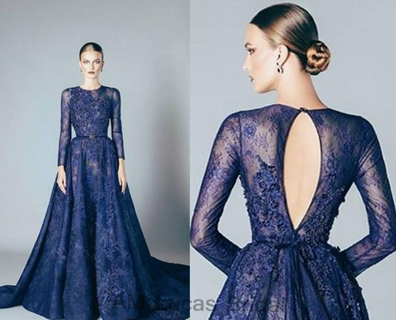 New Navy Blue 2017 Evening Dress With Long Sleeves Sashes ...