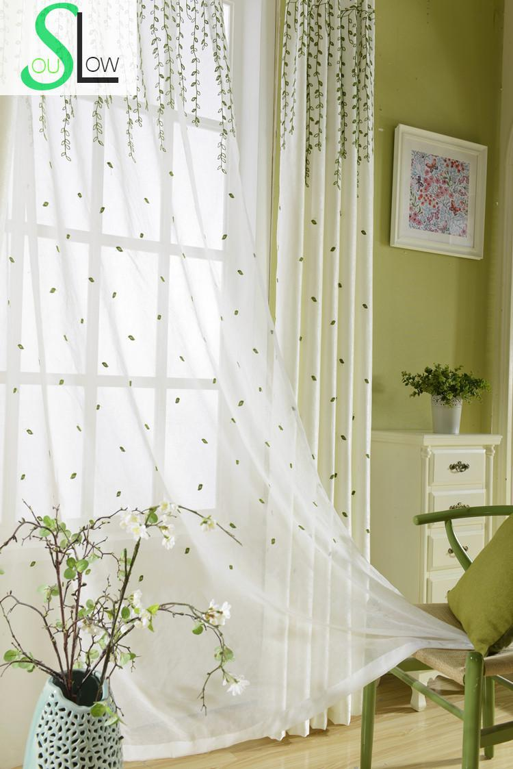Slow Soul Green Branches Willow Bough Bedroom Curtain Embroidered ...