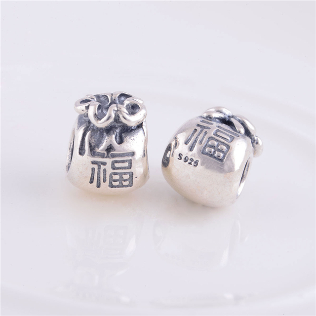 Sterling Silver Good Fortune Money Bag Charm Beads Fit Original Pandora Charms Bracelet Jewelry