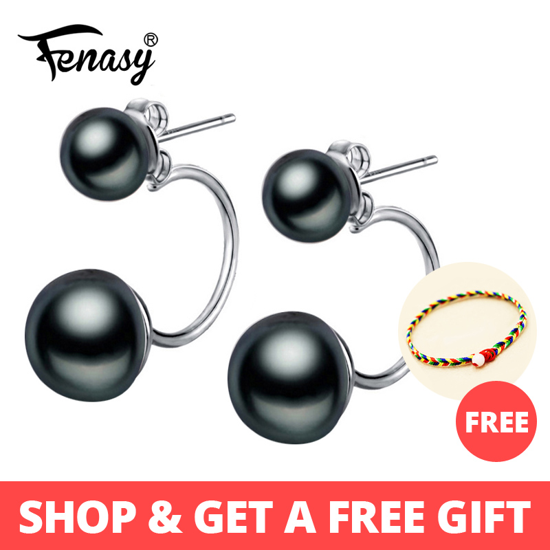 FENASY Black Pearl Earrings For Women,fashion Natural Freshwater Beads Vintage Double Pearl Stud Earrings,jewelry Gift Box