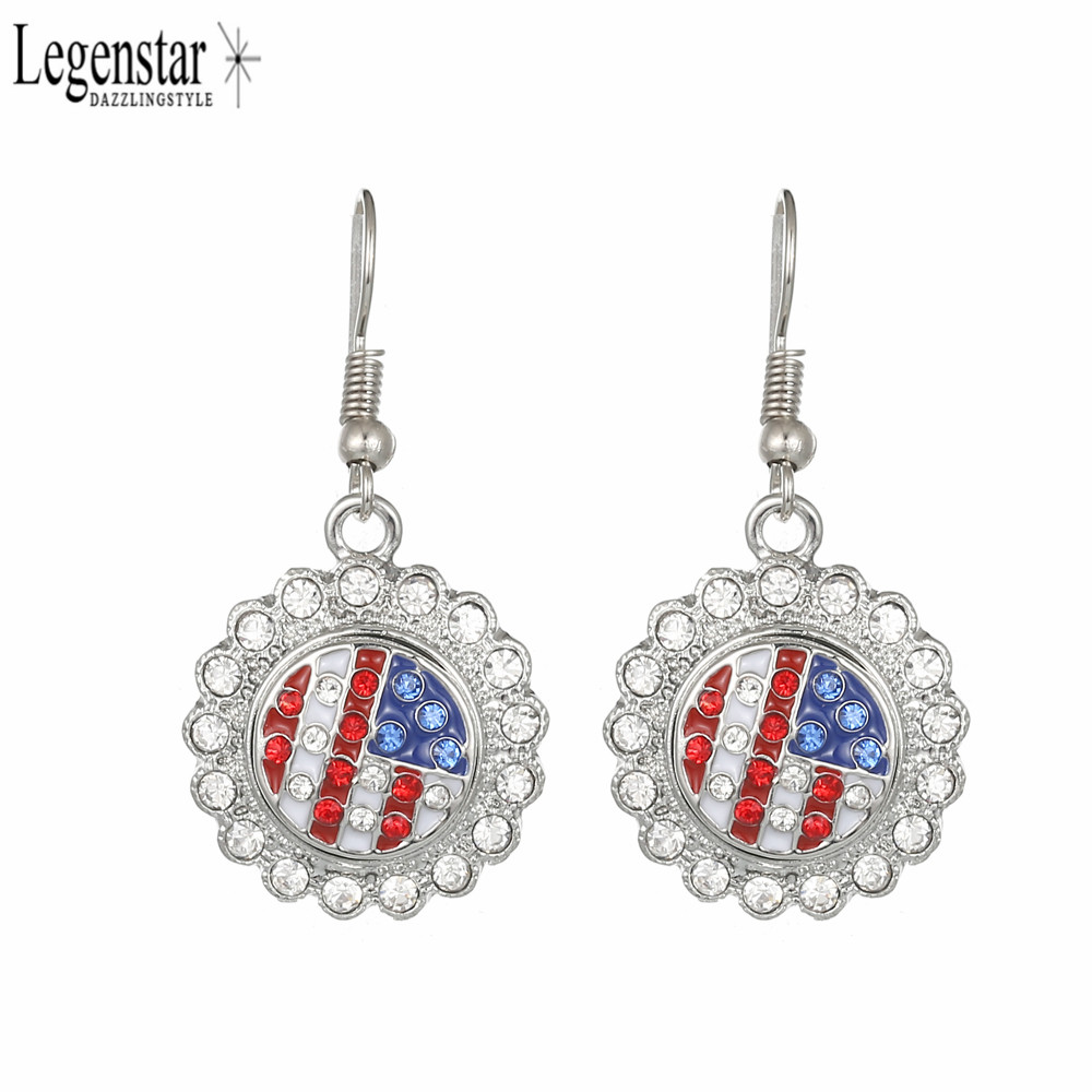 Legenstar Metal Snap Earring Crystal Flower Shape With 12mm American Flag Snap Button Fashion Earring DIY Jewelry For Women 2018 image