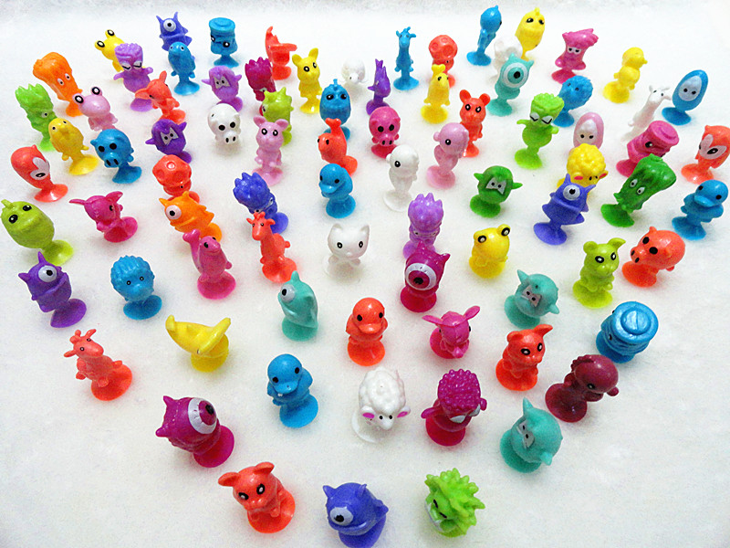 AILAIKI 100Pcs/lot Monster Sucker Dolls kids Animal Cupule Suckers Action Figure Toy Suction Cup Collector Capsule Model Puppets 48pcs cupule kids cartoon animal action figures stikeez toys sucker kids mini suction cup collector capsule model for kids gift