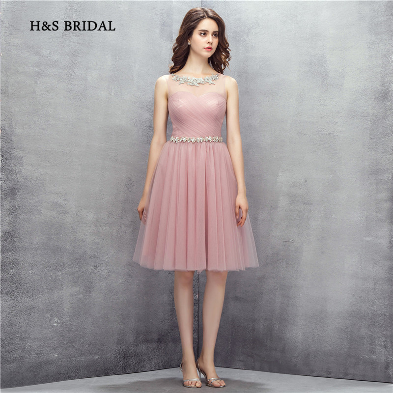 H&S BRIDAL Jewel Neck Crystals Light Purple Tulle A Line Short Prom Dresses Girls Cocktail Party Gowns