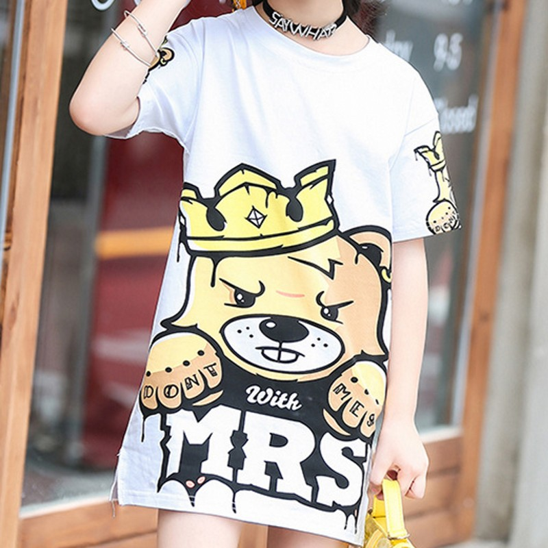 2018 Cartoon White Tshirts Loose Fit Cotton Summer Tops Korean Style Casual Long T-Shirt For Girl Clothes For Girls 12 Years Old