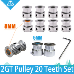3D Printer Parts UM2 Ultimaker2 2GT 6mm Belt Pulley 20 Teeth Bore 8mm + GT2 20 Tooth Bore 5mm+Double Side Gear 20 Teeth Bore 8mm
