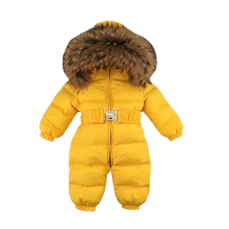 Russia Winter Baby Snowsuits kids Jumpsuit hold -25 18M-4T Boy Girls Warm natural fur Down Jacket Kids Clothes Infantil Rompers christmas 2017 brand new winter newborn infantil baby rompers kid boys and girls clothing real fur jumpsuit down overall jacket