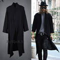 New Avant-garde Mens Fashion Draping Shawl Linen Long Cardigan Cloak Outwear Coat For Mens Tops Clothing