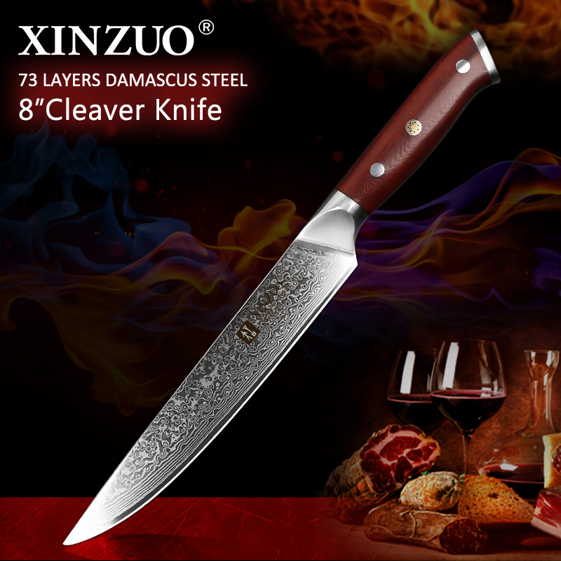 XINZUO 8 Cleaver Knife Japanese vg10 Steel Core Damascus Rosewood Handle Ultra Sharp Slicing Meat Kitchen