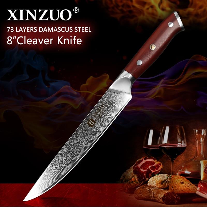 """Ev ve Bahçe'ten Mutfak Bıçakları'de XINZUO 8 """"Cleaver Bıçak Japon vg10 Çelik Çekirdek Şam Gül Ağacı Kolu Ultra Keskin Dilimleme Et Mutfak Bıçağı Hediye kutusu'da  Grup 1"""