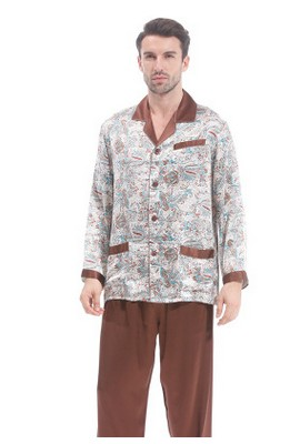 Spring And Autumn Silk Pajamas With 100% Mulberry Silk And Silk Two-piece Suit Long Sleeves