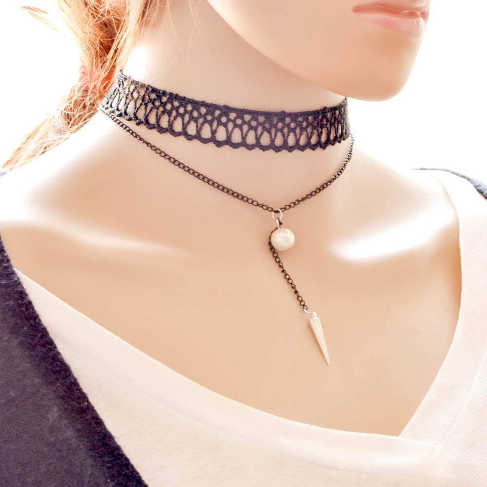 Shunyun Jewelry Vintage Gothic Choker Triangle Rivet Faux Simulated Pearl  Tassel Pendant Lace Chain Necklace Women