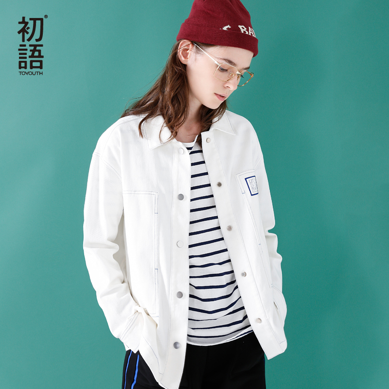 Toyouth свободные куртки с Вышивка для Для женщин женские пальто Для женщин весенняя куртка casaco feminino jaqueta feminina