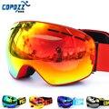 Nueva copozz marca uv400 gafas de esquí doble capa anti-vaho grande máscara de esquí gafas de esquí hombres mujeres nieve snowboard gafas gog-201