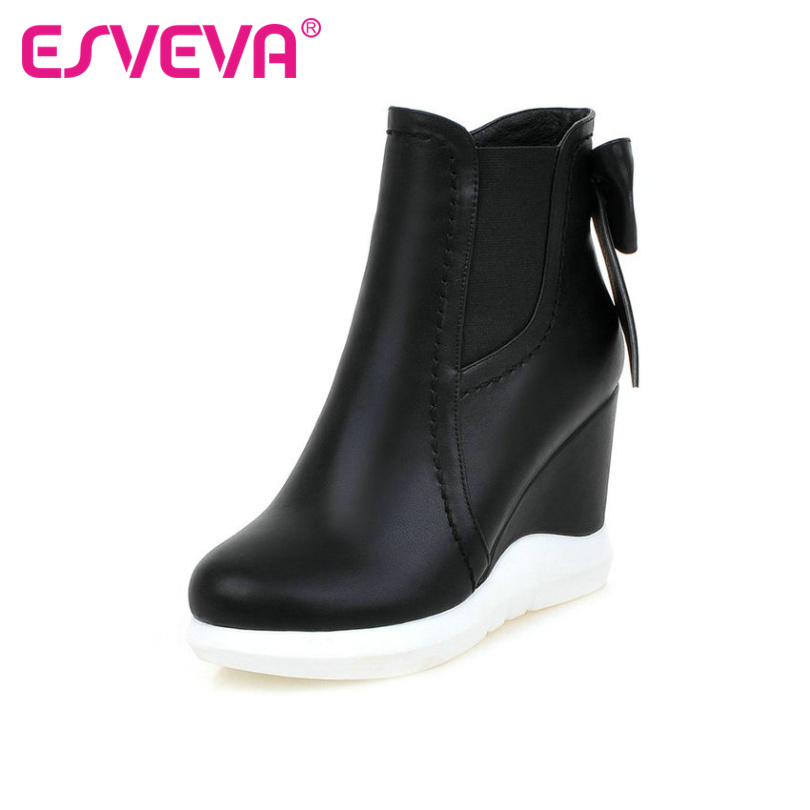 цены  ESVEVA 2016 Sweet Bow Tie Autumn Women Shoes White Ladies Wedges High Heel Ankle Boots Women Platform Fashion Boots Size 34-42