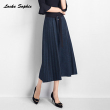 1pcs Hight waist Womens Pencil skirts 2019 Autumn Knitted cotton Splicing selastic belt Pleated skirt Ladies Skinny