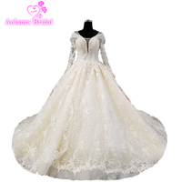 Luxury Appliques Crystal Wedding Dresses With Gorgeous Lace Long Sleeve Covered Lace Up Back Bridal Gown 2018 Custom Made