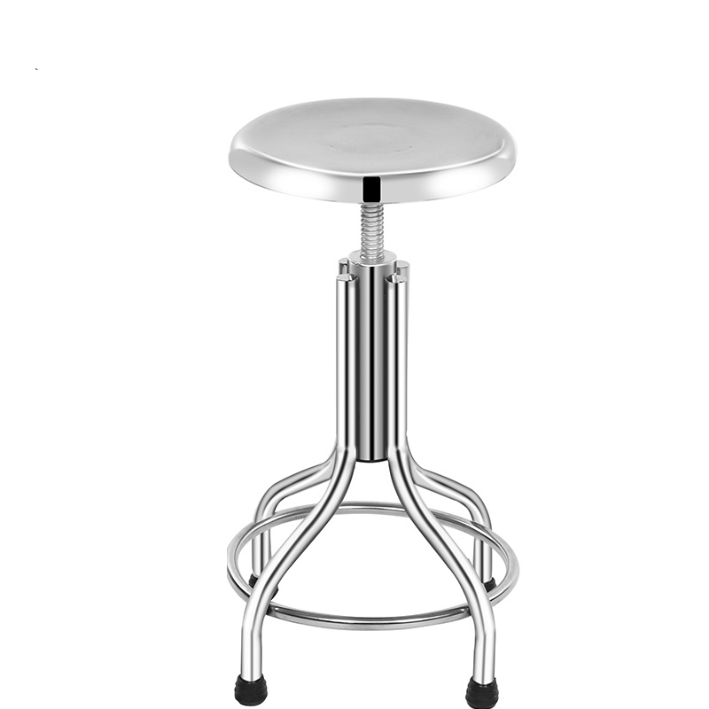 Safe Stainless Steel Spiral Lifting Fixed Bar Chair Laboratory Factory Staff Stool Lifted Stable Haircut And Cosmetology Chair