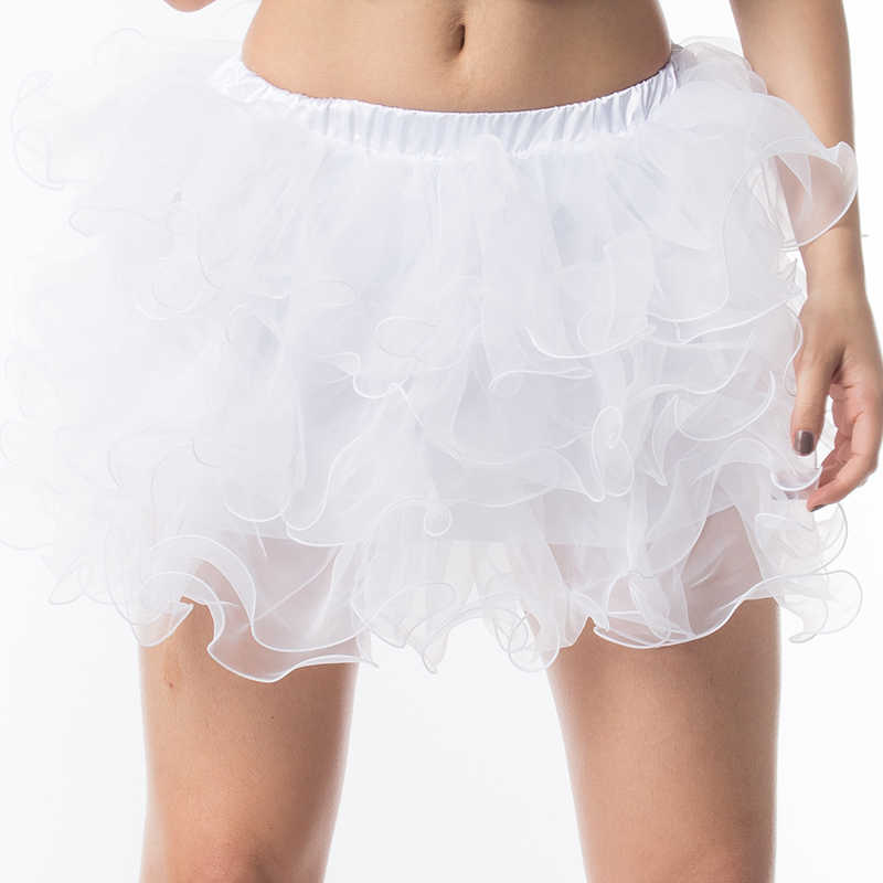Club Dancewear White Ruffle Layered Tulle Mini Ball Gown Underskirt Petticoat Sexy Tutu Skirt Plus Size Gothic Skirts For Women