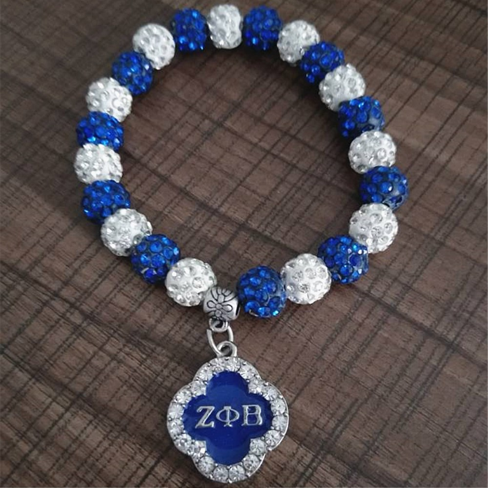 Double Nose white blue crystal disc ball beads zeta phi beta bracelets bangles for sorority greek