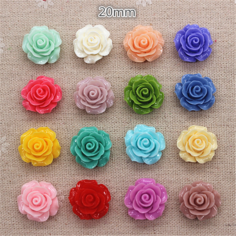 30pcs 20mm Resin Camellia Flowers Flat Back Cabochon DIY Jewelry/ Craft Decoration(No Hole)
