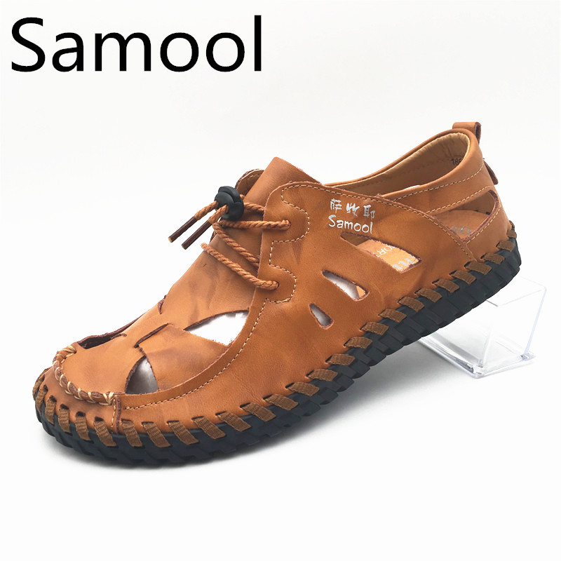 Mens Casual Genuine Leather Handmade Fashion Outdoor Summer Sandals Pack Toe Slip-on Rubber Soles For Gentleman QX5