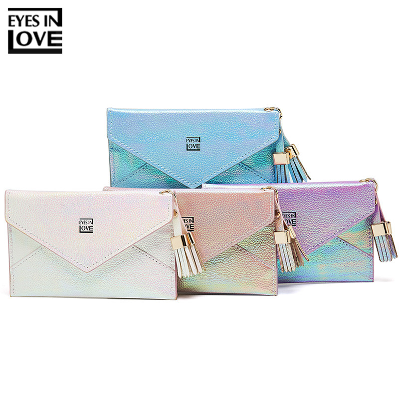Fashion Envelope Tassel Wome Card Holders Brand Designer Card Wallet Female Coin Purse Glitter Colorful Ladies Cards Case Girls